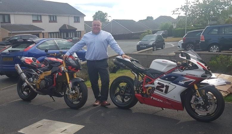 Ian with his Aprilia Tuono and Ducati 1098R