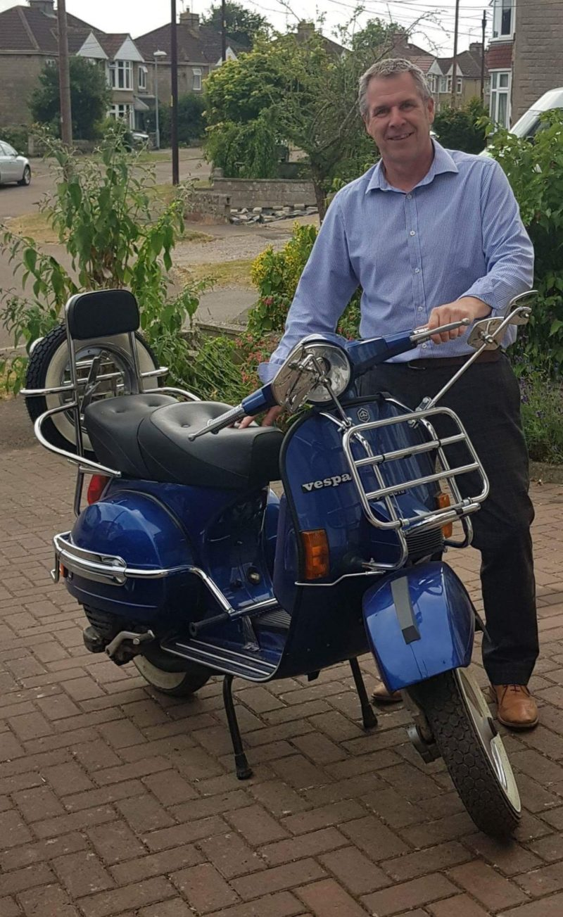 Paul taking delivery of his Vespa PX200E