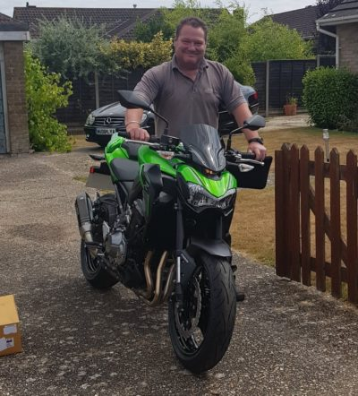 Richard taking delivery of Kawasaki Z900