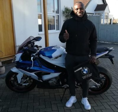 Santa taking delivery of his BMW S1000RR